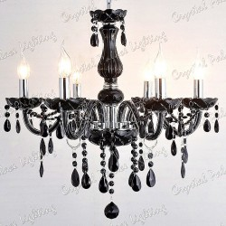 Black Crystal Chandelier 6 Arms