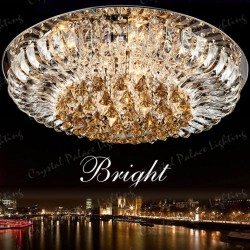Amber Crystal Flush Ceiling Light 1 Layer