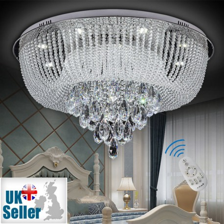 New Modern Genuine K9 Crystal LED Flush Ceiling Light Chandelier + Remote Control