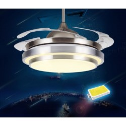 NEW Style RETRACTABLE BLADE Folding Ceiling Fan 3 LED Light Colours Remote Ctrl