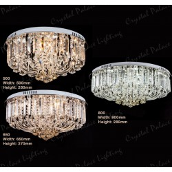 Champagne Dimmable Crystal Flush Ceiling Light Chandelier + Remote Control