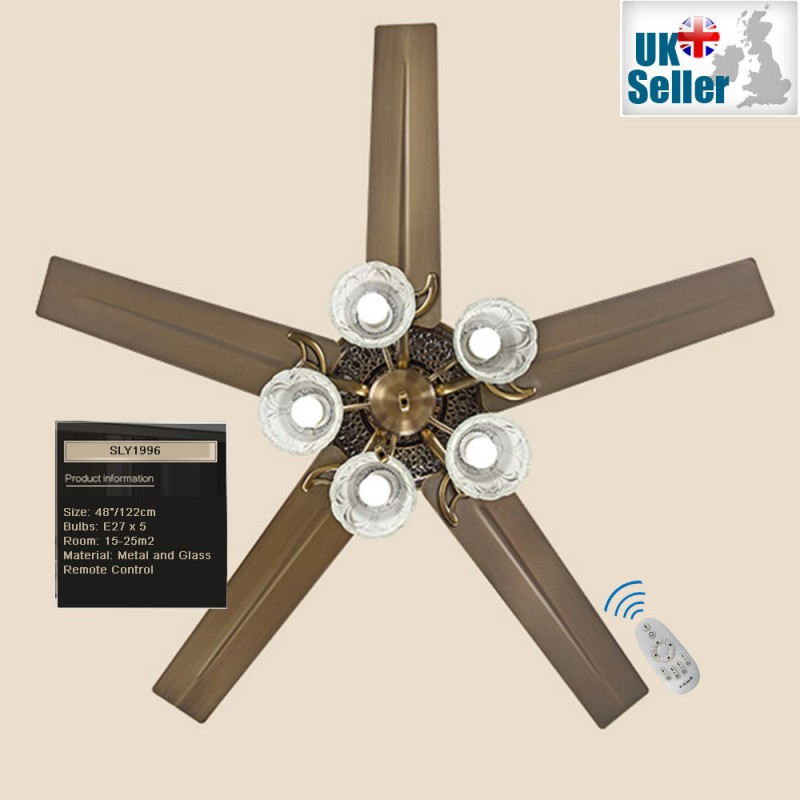 48 ceiling fan light bronze 5 glass light 5 metal blade remote 48 ceiling fan light bronze 5 glass light 5 metal blade remote ctrl mozeypictures Images