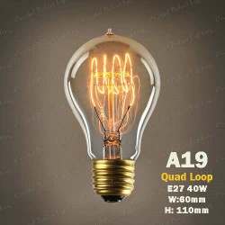 A19-40W Quad Loop DIMMABLE Edison Bulbs