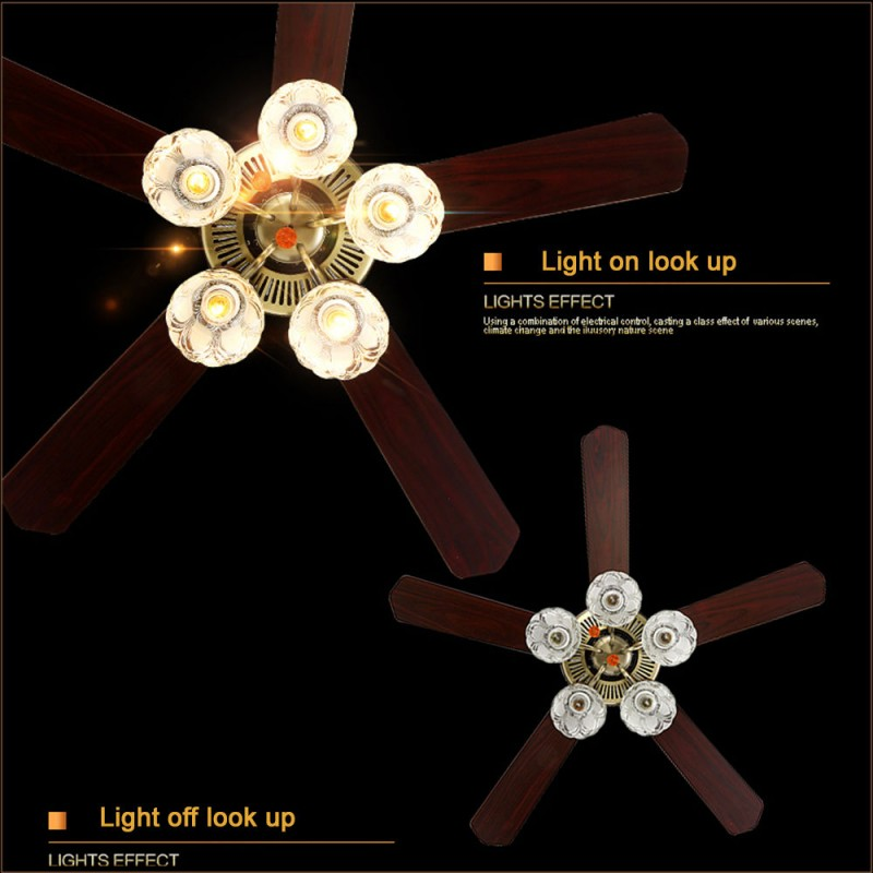 52 Ceiling Fan Light Bronze 5 Glass Lights 5 Wood Blades 3 Speeds Wdw Trading Co Ltd