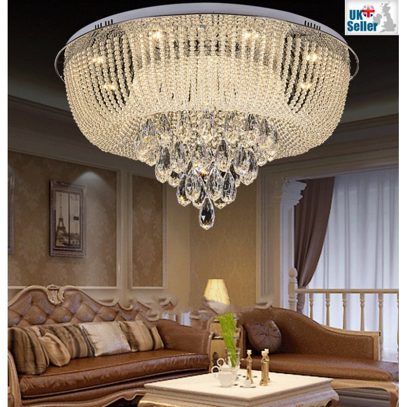 f95d2aad46 ... New Modern Genuine K9 Crystal LED Flush Ceiling Light Chandelier + Remote  Control