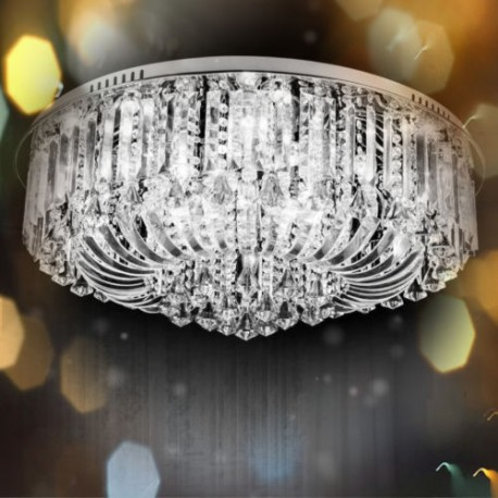 Clear crystal flush ceiling light 1 layer clear 50 dimmable crystal flush ceiling light chandelier remote control aloadofball Images
