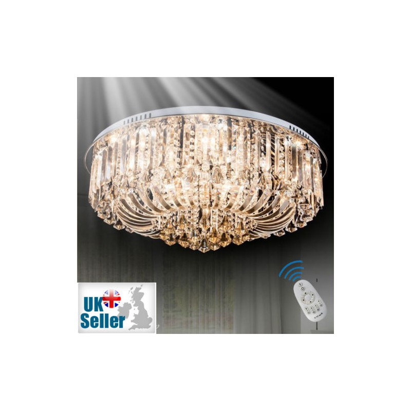 Clear crystal flush ceiling light 1 layer champagne 65 dimmable crystal flush ceiling light chandelier remote control aloadofball Gallery
