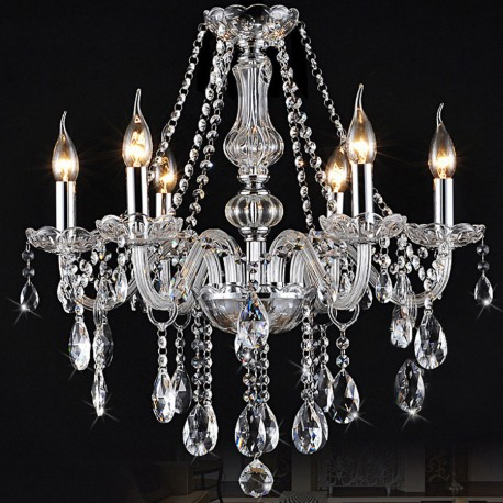 Clear crystal chandelier 6 arms crystal chandelier 6 lights arms candle pendant lamp with lampshade aloadofball Choice Image